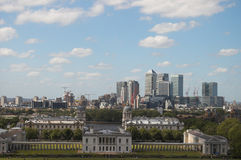 Canary Wharf, London, UK. (view from Greenwich royalty free stock image