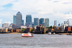 Canary Wharf in London viewed over the Thames Stock Photo