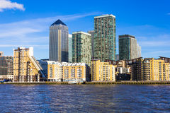 Canary Wharf in London from the West Royalty Free Stock Photography