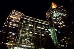 Canary Wharf at night Stock Photos