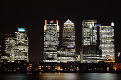 Canary Wharf at Night Royalty Free Stock Photography