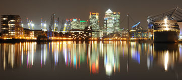 Canary Wharf by night Stock Photography