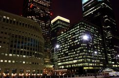 Canary wharf at night Royalty Free Stock Image