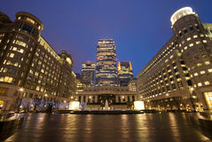 Canary Wharf at night. Canary Wharf Cabot Square at night royalty free stock photography