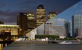 Canary Wharf Night and Day Royalty Free Stock Photo