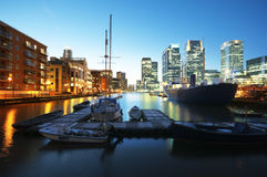 Canary Wharf at night. London - England Stock Photography