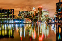 Canary Wharf at night Stock Image