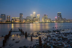 Canary Wharf by night , London Stock Photo