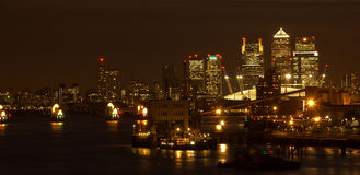 Canary Wharf Night Scape Royalty Free Stock Photography