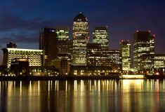 Canary Wharf Night Scape Stock Image
