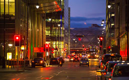 Canary Wharf , night street view with traffic lights and cars Royalty Free Stock Image