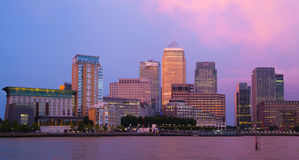Canary Wharf night view. London Stock Photos