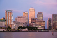 Canary Wharf night view. London Royalty Free Stock Photos