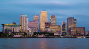 Canary Wharf night view. London Royalty Free Stock Photography