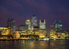Canary Wharf night view. London Stock Photography