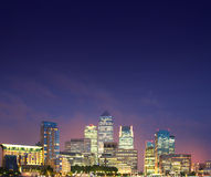 Canary Wharf night view. London Royalty Free Stock Images