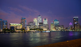 Canary Wharf night view. London Stock Image