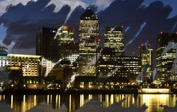 Canary Wharf Nightscape Royalty Free Stock Photos