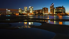Canary Wharf from North Greenwich, London. stock photo
