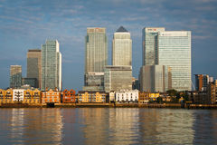 Canary Wharf from North Greenwich. Stock Photo