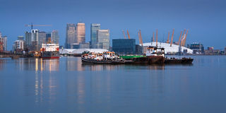 Canary Wharf and North Greenwich. Royalty Free Stock Images