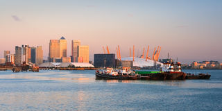Canary Wharf and North Greenwich. Royalty Free Stock Image