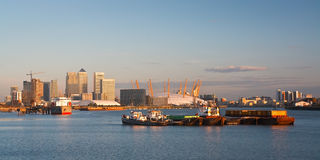 Canary Wharf and North Greenwich. Stock Photo