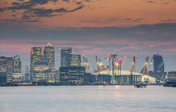Canary Wharf and O2 arena Royalty Free Stock Photography