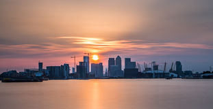 Canary Wharf and O2 arena Stock Image