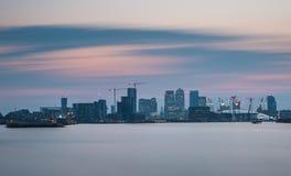 Canary Wharf and O2 arena Royalty Free Stock Photos