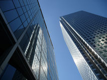Canary Wharf Office Buildings. View of Canary Wharf in London's Docklands Stock Photos