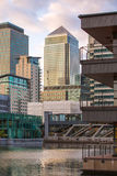 Canary Wharf office buildings at sunset, London Royalty Free Stock Photos