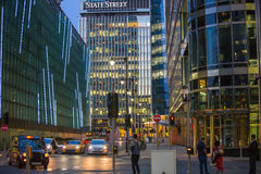 Canary Wharf office's windows lit up in the night. Royalty Free Stock Photos