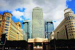 Canary Wharf business buildings London United Kingdom. Canary Wharf is one of the main financial centres of the United Kingdom, the European Union and the Stock Images
