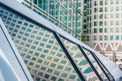 Canary Wharf Pedestrian Bridge. To Crossrail Place in London Royalty Free Stock Image