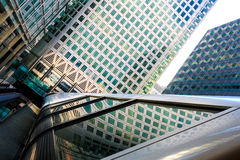 Canary Wharf Pedestrian Bridge. To Crossrail Place in London Stock Photo
