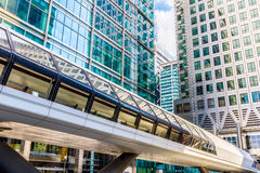 Canary Wharf Pedestrian Bridge. To Crossrail Place in London Royalty Free Stock Photography