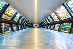 Canary Wharf Pedestrian Bridge. To Crossrail Place in London Stock Photos
