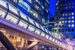 Canary Wharf Pedestrian Bridge. To Crossrail Place in London at night Stock Image