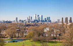 Canary Wharf regardent de la colline de Greenwich Image stock