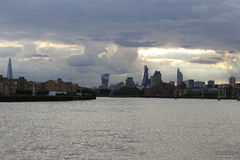 Canary wharf River Thames in East London royalty free stock images