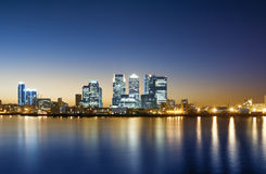 Canary Wharf, Skyline. Panorama of the Canary Wharf area at sunset, London stock photos