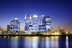 Canary Wharf, Skyline. Panorama of the Canary Wharf area at sunset, London stock photo