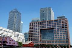 Canary Wharf skyline. Canary Wharf office blocks skyline against a strong blue sky Stock Photos