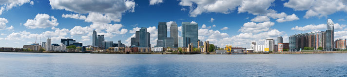 Canary Wharf Skyline. Panoramic picture of Canary Wharf. Financial district, bank buildings at London, Canary wharf stock image