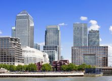 Canary Wharf Skyline. Under a blue sky, London Royalty Free Stock Photo