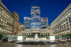 Canary Wharf skyline from Cabot Square, London Royalty Free Stock Photos