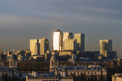 Canary Wharf skyline at dawn Stock Images