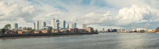Canary Wharf skyline and Greenwich peninsula stock photos