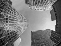 Canary Wharf skyline in London in black and white Royalty Free Stock Photos